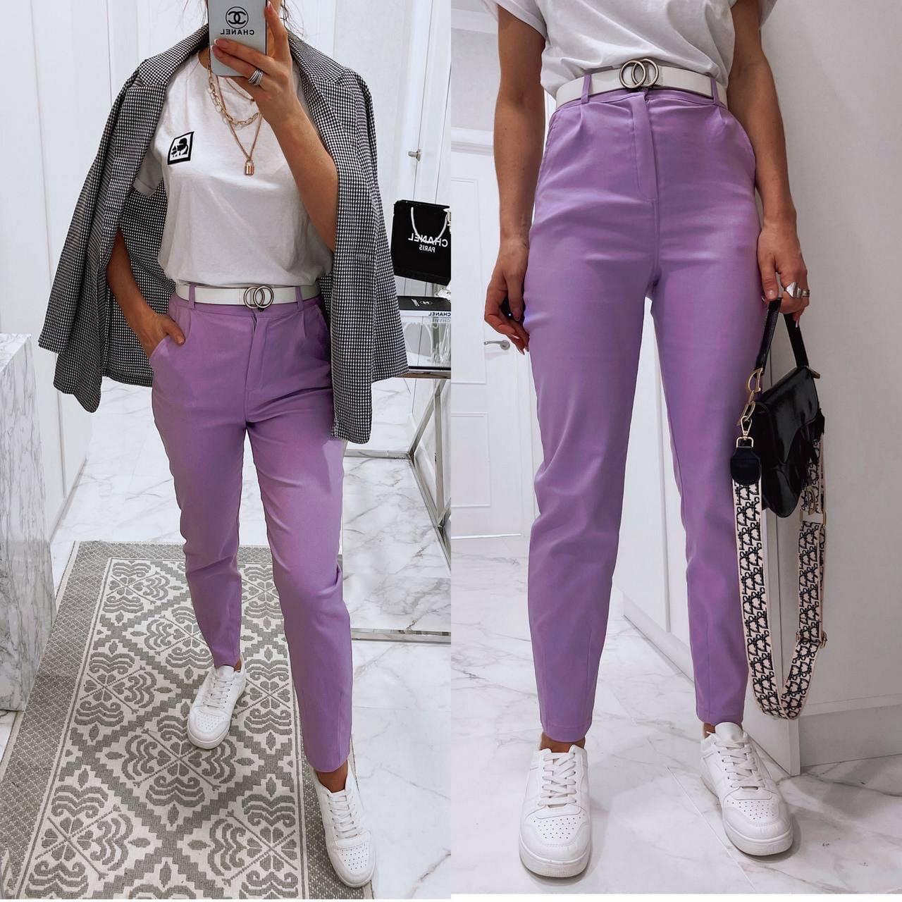 Женские брюки с завышенной талией из материала стрейч-джинс, 00759 (Фиолетовый), Размер 44 (M)
