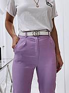 Женские брюки с завышенной талией из материала стрейч-джинс, 00759 (Фиолетовый), Размер 44 (M), фото 2