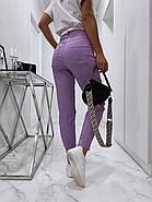 Женские брюки с завышенной талией из материала стрейч-джинс, 00759 (Фиолетовый), Размер 44 (M), фото 3