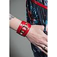 Женский стильный браслет-манжета из натуральной кожи закрывается на застежку, фото 2