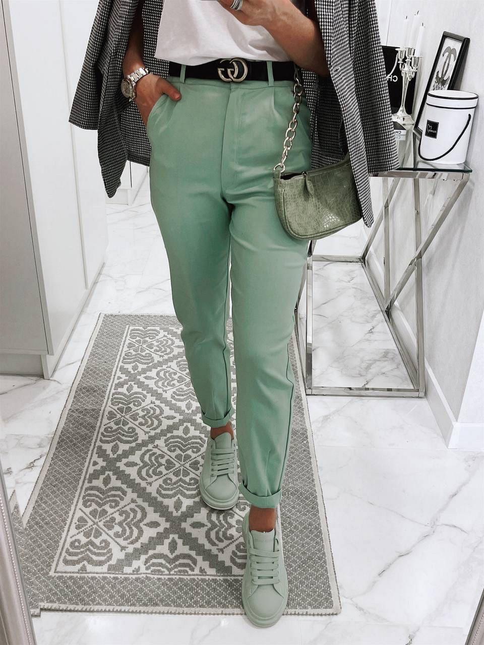 Ультрамодні жіночі джинси із завищеною талією, 00755 (Бірюзовий), Розмір 42 (S)