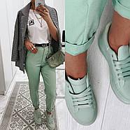 Ультрамодні жіночі джинси із завищеною талією, 00755 (Бірюзовий), Розмір 42 (S), фото 3