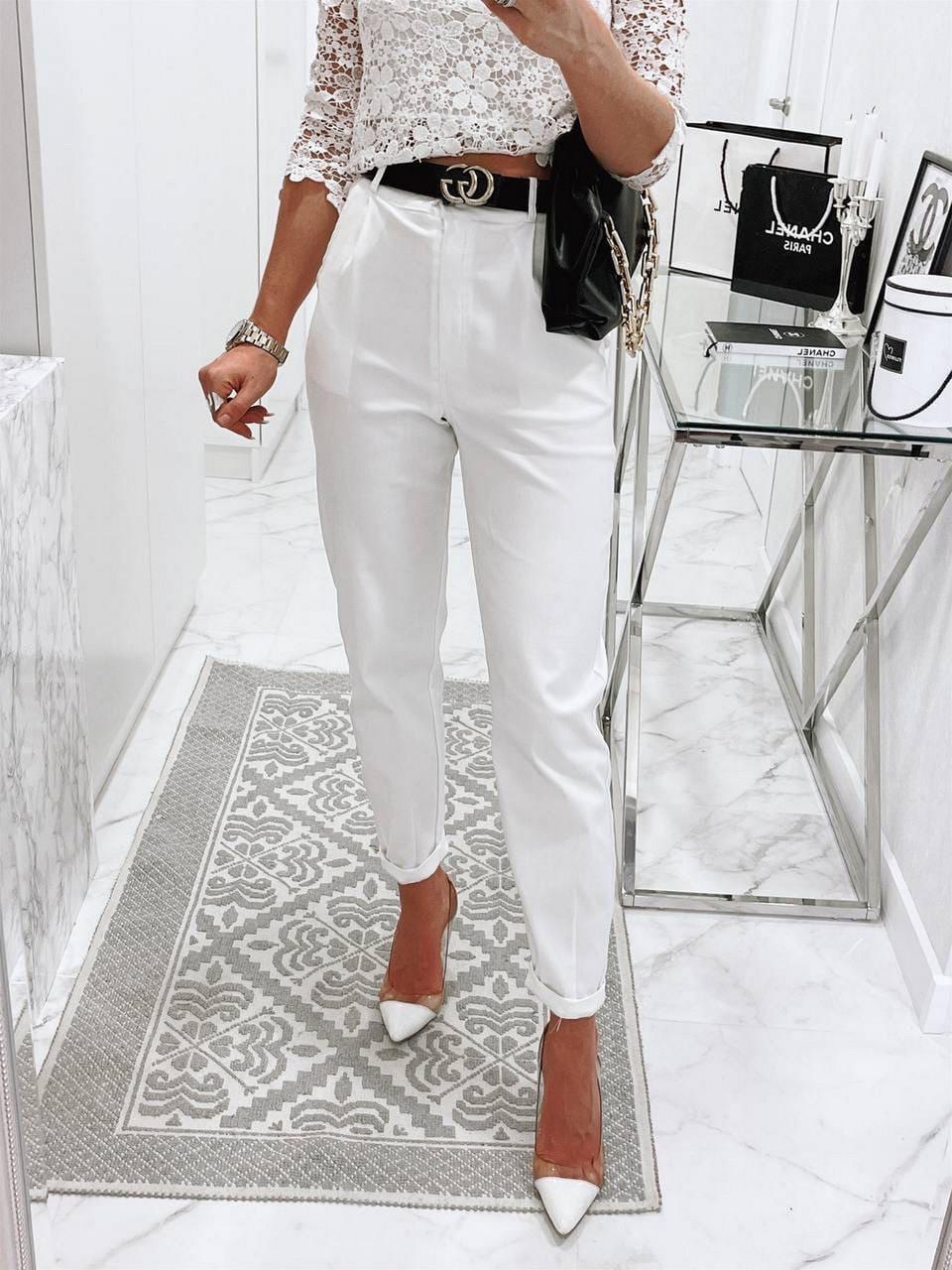 Стильные женские штаны с чуть завышенной талией, 00756 (Белый), Размер 46 (L)