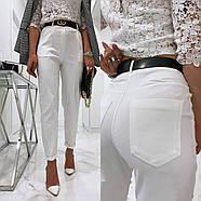 Стильные женские штаны с чуть завышенной талией, 00756 (Белый), Размер 46 (L), фото 2