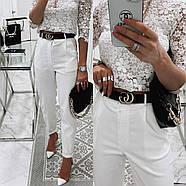 Стильные женские штаны с чуть завышенной талией, 00756 (Белый), Размер 46 (L), фото 4