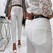 Стильные женские штаны с чуть завышенной талией, 00756 (Белый), Размер 46 (L), фото 5
