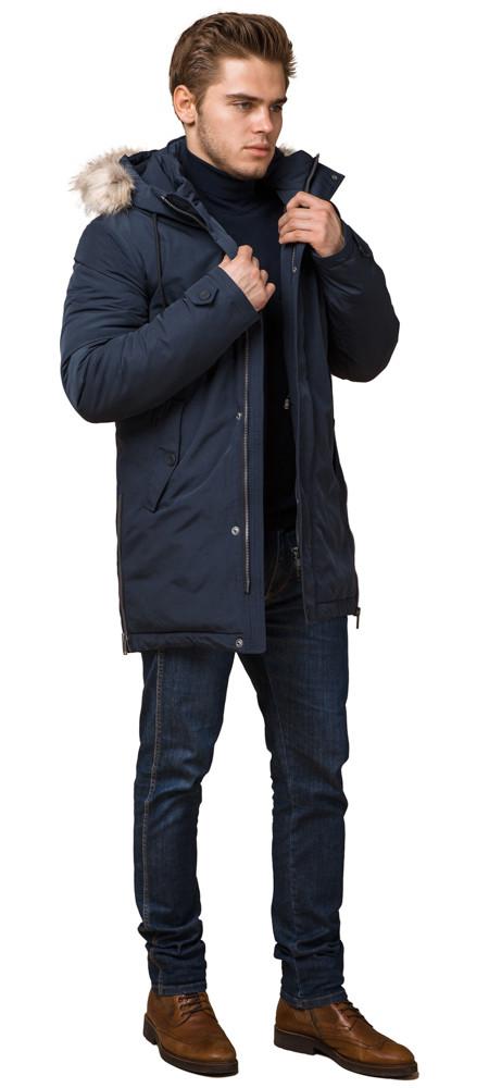 Синя чоловіча зимова парку з куліскою модель 20758 (ЗАЛИШИВСЯ ТІЛЬКИ 50(L))