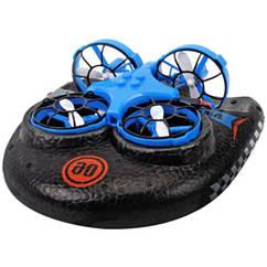 Катер-дрон-машинка Trix K2, 3 в 1, режимы наземный, плавания, полета (Синий)