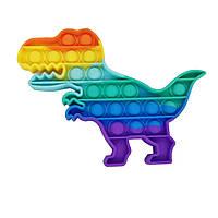 Пупырка антистресс Динозавр радужный  Popit, фото 1