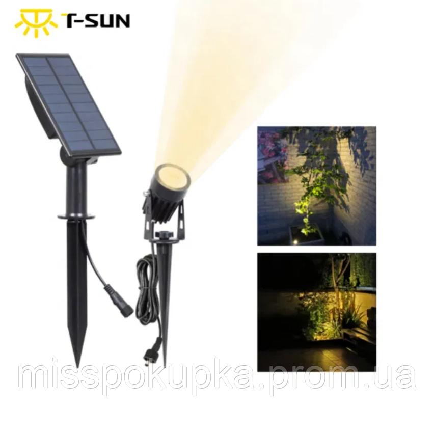 Світильник на сонячній батареї T-SUN IP65 6000K кабель 3м