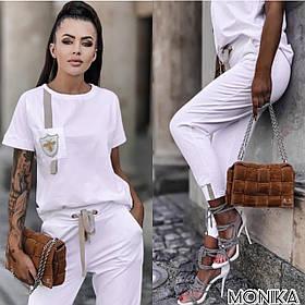 Белый спортивный костюм женский летний Большого размера