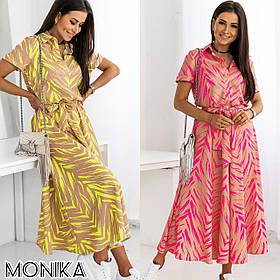 Стильное летнее длинное платье с поясом и воротником