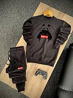 Мужской спортивный костюм черный Supreme, Стильный весенний летний комплект свитшот и штаны Суприм Турция
