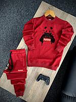 Мужской спортивный костюм красный Supreme, Стильный весенний летний комплект свитшот и штаны Суприм Турция