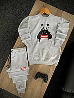 Мужской спортивный костюм серый Supreme, Стильный весенний летний комплект свитшот и штаны Суприм Турция