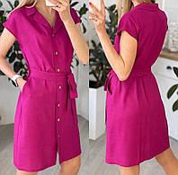 Женское платье рубашка на лето с коротким рукавом