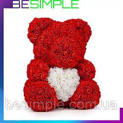 Мишко з троянд 40 см, Ведмедик з квітів