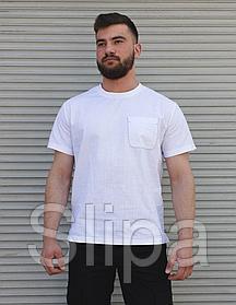 Белая льняная футболка мужская с карманом на груди | 100% лён