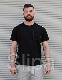 Чёрная льняная футболка мужская с карманом на груди | 100% лён