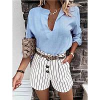 Жіноча стильна блузка з V-подібним декольте, фото 1