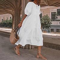 Стильне жіноче розкльошені довге плаття з рукавом ліхтарик, фото 1