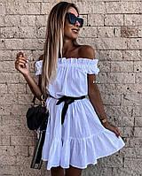 Женское летнее лёгкое платье (белый, чёрный, бежевый) универсальный 42-46 размер