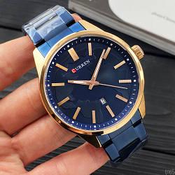 Наручные часы Curren 8366 Blue-Gold Мужские годинник NEW Швейцарские на руку Кварцевые ТОП!