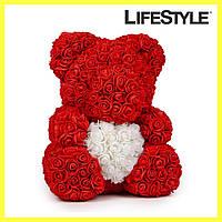 Мишка из роз 40 см с сердечком / Мишка из цветов
