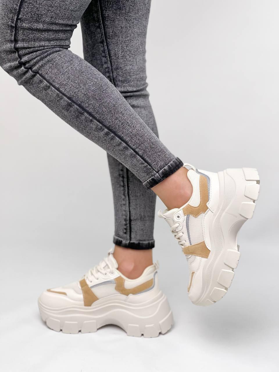 ТІЛЬКИ 24,5 см!!! Кросівки жіночі бежеві з коричневим текстиль+ еко шкіра