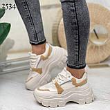 ТІЛЬКИ 24,5 см!!! Кросівки жіночі бежеві з коричневим текстиль+ еко шкіра, фото 2