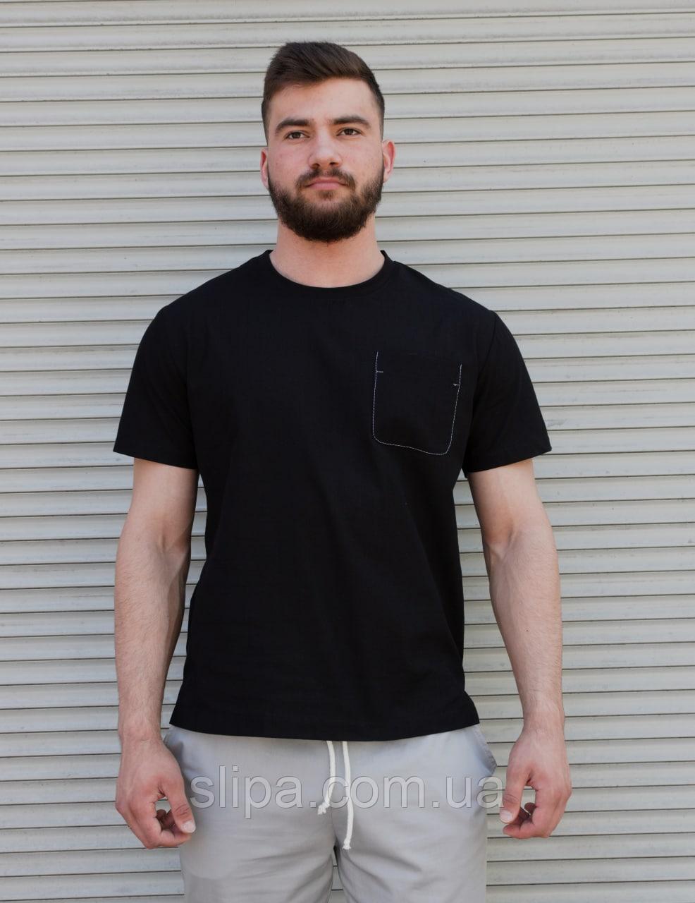 Чёрная льняная футболка с карманом на груди | 100% лён