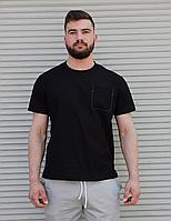 Чорна бавовняний футболка з кишенею на грудях   100% льон, фото 1