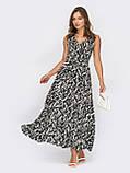 Чорна сукня-міді на запах з принтом зебра ЛІТО, фото 2