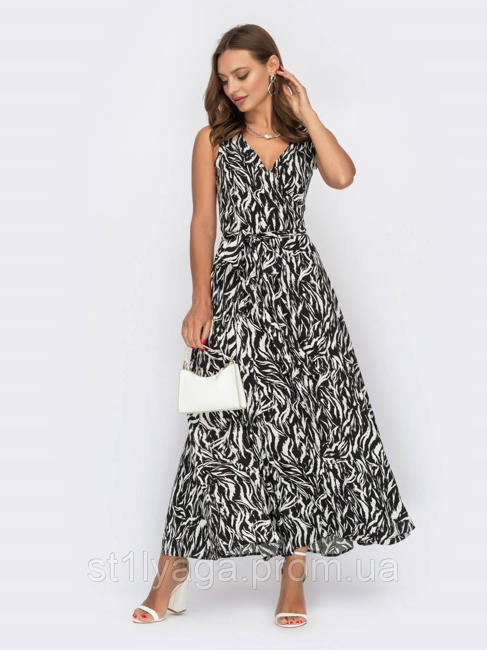 Чорна сукня-міді на запах з принтом зебра ЛІТО