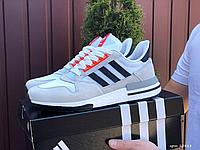 Сірі замшеві кросівки Adidas Zx 500 Rm на білій підошві   В'єтнам   замша/сітка + піна, фото 1