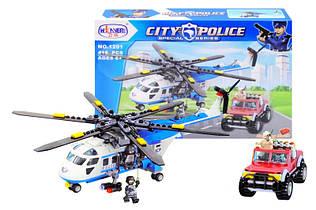 Конструктор полицейский вертолет и джип 1201