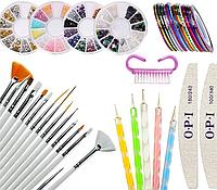 Набор для дизайна ногтей. Декор для маникюра: Кисти для дизайна, стразы, дотсы, скотч-ленты, пилочка.