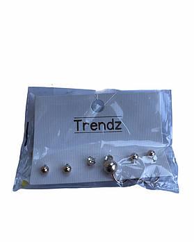 Набір сережок-цвяшків Trendz 3 набору