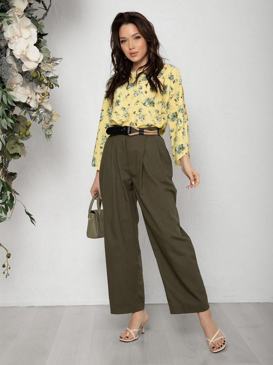 Коттоновые свободные брюки цвета хаки