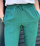 Женские брюки летние зауженные из льна (Норма, Батал), фото 7