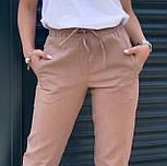 Женские брюки летние зауженные из льна (Норма, Батал), фото 2