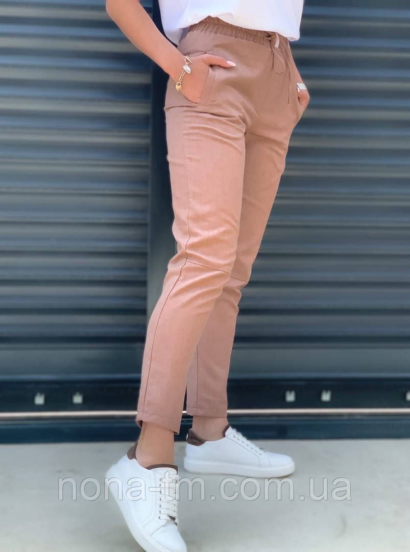 Жіночі брюки літні завужені з льону (Норма, Батал)