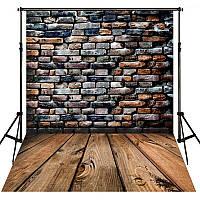 Фотофон, фон для фото виниловый текстурный Deep Vinyl Texture Cloth 150×210 см Кирпичная стена + Дерево 5
