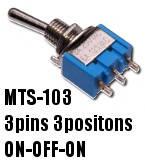 Тумблер MTS-103 3 контакта, 3 положения, 250V