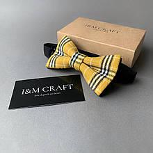 Галстук-бабочка I&M Craft желтый в клетку (010452)