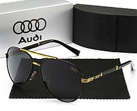 Очки мужские солнцезащитные с логотипом Audi Design GOLD complete Очки Ауди Золото+Черный