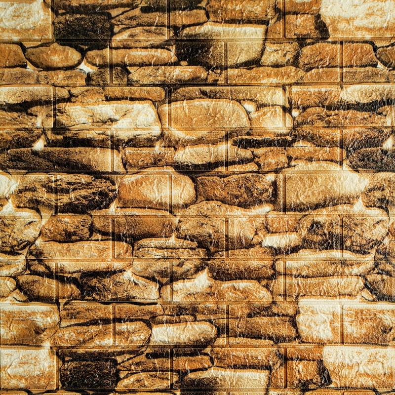 Декоративная 3D панель стеновая самоклеющаяся под кирпич, под КОРИЧНЕВЫЙ КАМЕНЬ 700х770х5мм