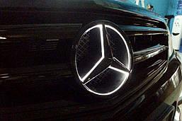 Эмблема Звезда Шильдик Mercedes с LED подсветкой в решетку Мерседес GLE GLS GLA CLA ML GL GLC 18.5 см