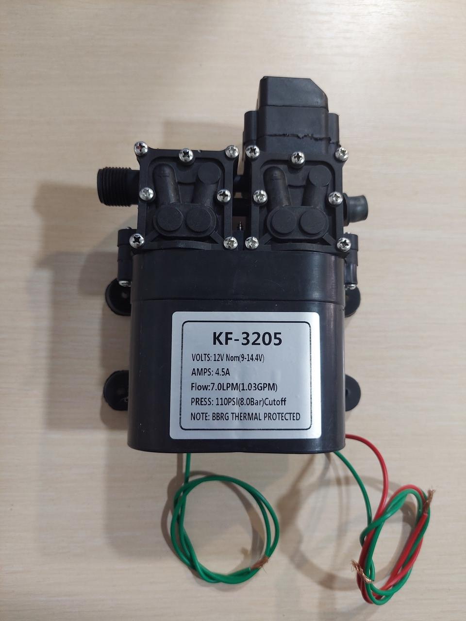 Насос посилений (подвійний) для акумуляторних обприскувачів (12В). KF-3205. Тиск до 8 bar.