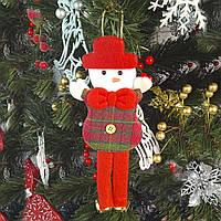 Новогоднее украшение подвеска Снеговик с колокольчиками
